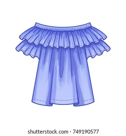 Off the shoulder blue blouse with ruffles and short sleeves. The spring-summer season. Vector illustration.