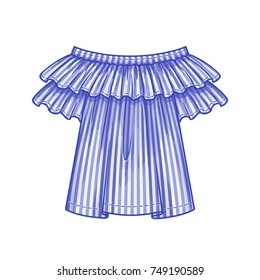 Off the shoulder blue striped blouse with ruffles and short sleeves. The spring-summer season. Vector illustration.