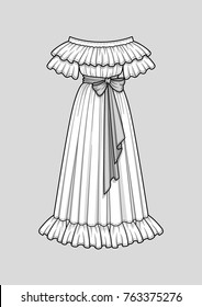 Off the shoulder long flared dress with ruffle short sleeves. Ruffle neckline and hem. Maxi length. Waist belt with a bow. Vector illustration. Technical flat sketch.