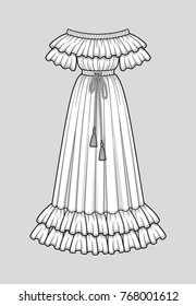 Off the shoulder long flared dress with ruffle short sleeves. Ruffle neckline and double ruffle hem. Elastic waist and neckline. Tasseled tie waist. Floor length. Technical flat sketch, vector.