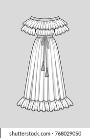 Off the shoulder long flared dress with ruffle short sleeves. Ruffle neckline and hem. Elastic waist and neckline. Tasseled tie waist. Maxi length. Vector illustration. Technical flat sketch.