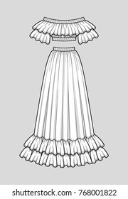 Off the shoulder smocked cropped top with ruffle neckline and short sleeves, elastic hem and neckline. Flared long skirt with double ruffle hem, elastic smocked waist. Technical flat sketch, vector.