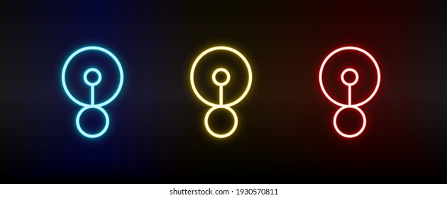off state, switch neon icon set. Set of red, blue, yellow neon vector icon