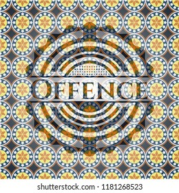 Offence arabic emblem background. Arabesque decoration.
