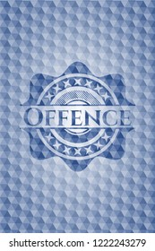 Offence blue emblem or badge with abstract geometric pattern background.