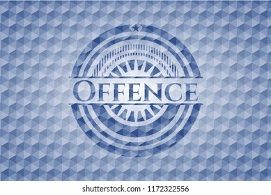 Offence blue emblem with geometric pattern background.