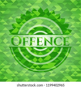 Offence green emblem. Mosaic background