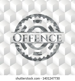 Offence grey badge with geometric cube white background