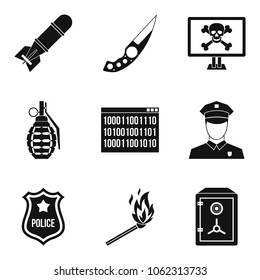 Offence icons set. Simple set of 9 offence vector icons for web isolated on white background