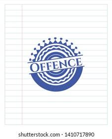 Offence pen strokes emblem. Blue ink. Vector Illustration. Detailed.