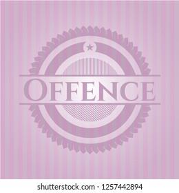Offence pink emblem. Vintage.