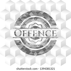 Offence realistic grey emblem with geometric cube white background