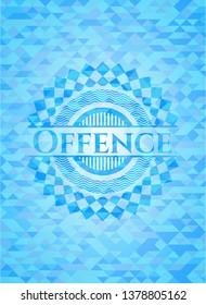 Offence realistic light blue emblem. Mosaic background