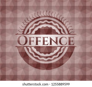 Offence red polygonal badge. Seamless.
