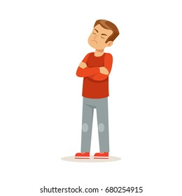 Offended boy character standing with folded arms vector Illustration