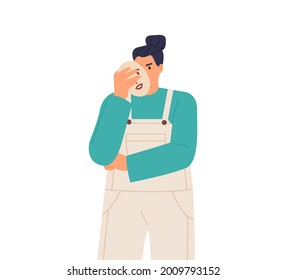 Offended woman hiding her real feelings behind face mask with fake calm emotion. Person disguising offense and psychological problems. Vector illustration