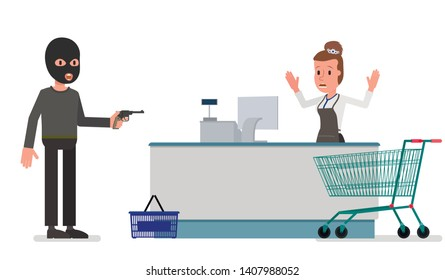 The offender robs the seller in the store. Isolated on a white background. Vector stock illustration.