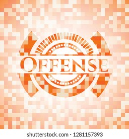 Offense abstract orange mosaic emblem with background