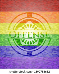 Offense emblem on mosaic background with the colors of the LGBT flag