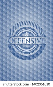 Offensive blue emblem with geometric pattern background. Vector Illustration. Detailed.