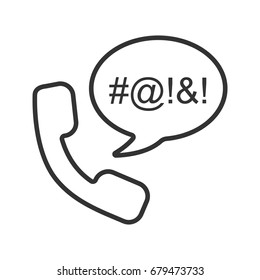 Offensive phone talk linear icon. Thin line illustration. Handset with censored swearing words inside chat bubble. Cursing contour symbol. Vector isolated outline drawing