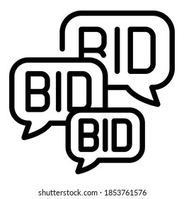 Offer bids icon. Outline offer bids vector icon for web design isolated on white background