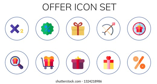 offer icon set. 10 flat offer icons.  Simple modern icons about  - subscript, gift, discount, bow, percentage