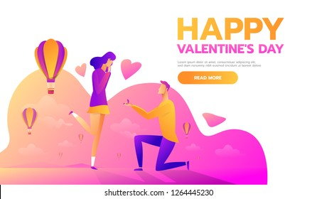 An offer of marriage. Man proposes a woman to marry him and gives an engagement ring. Vector illustration in cartoon style. Happy Valentine's Day.