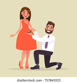 An offer of marriage. Man proposes a woman to marry him and gives an engagement ring. Vector illustration in cartoon style