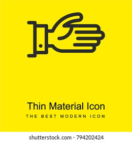 Offering Left Hand bright yellow material minimal icon or logo design