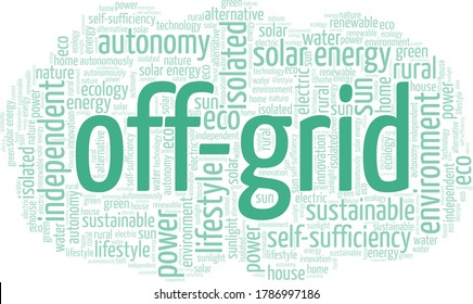 Off-grid word cloud isolated on a white background