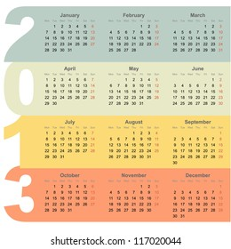 Office 2013 year calendar with colorful design background