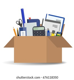 Office accessories in a cardboard box isolated on a white background. There is a calculator, folders, scissors, ruler, pen, marker and other stationery in the picture. Vector illustration