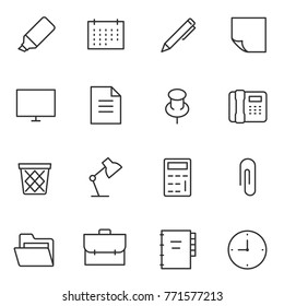office accessories and tools, icons set. linear design. Line with Editable stroke