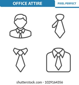 Office Attire Icons. Professional, pixel perfect icons optimized for both large and small resolutions. EPS 8 format. 5x size for preview.