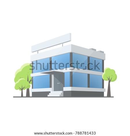 Office Building Cartoon Style Illustration Isolated Stock Vector