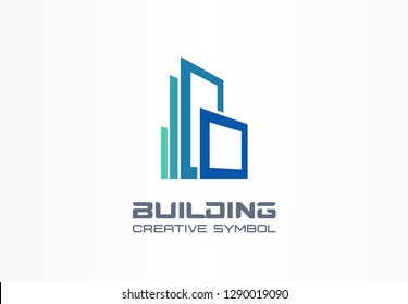 Office building creative symbol concept. Modern skyscraper, 3d architect, construction silhouette abstract business logo. Cityscape, apartment icon. Corporate identity logotype, company graphic design