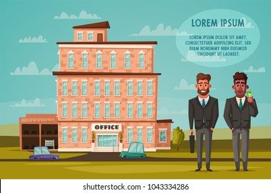 Office building facade. Buisness concept. Exterior of house. Cartoon vector illustration