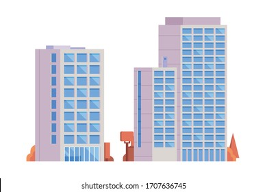 Office building. Flat design concept illustration.