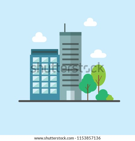 Office Building Flat Icon Stock Vector Royalty Free 1153857136