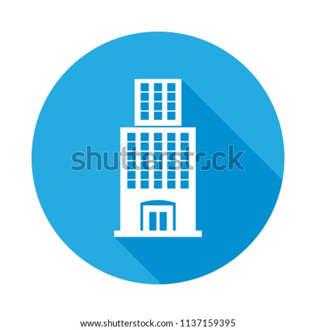 Office Building Flat Icon Long Shadow Stock Vector Royalty Free