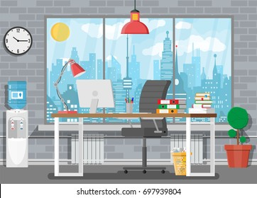 Office building interior. Desk with computer, chair, lamp, books and document papers. Water cooler, tree, clocks, window and cityscape. Modern business workplace. Vector illustration in flat style