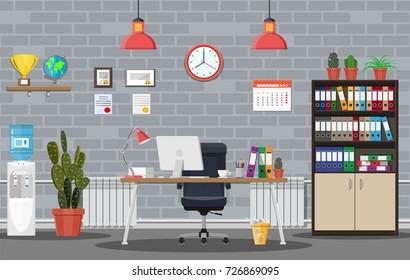 Office building interior. Desk with computer, chair, lamp, books and document papers. Water cooler, tree, clocks, calendar, cup. Modern business workplace Vector illustration in flat style