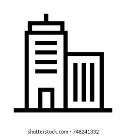 Office building line vector. A group of apartment units icon. Residential flat real estate property linear icon. Pixel perfect EPS file.