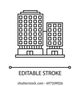 Office building linear icon. Apartment house. Thin line illustration. Business center. Contour symbol. Vector isolated outline drawing. Editable stroke