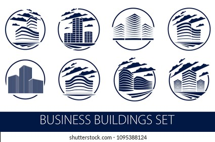 Office building round shape icons or logos set, modern architecture vector illustrations collection. Real estate realty business center designs. 3D futuristic facades in big city.