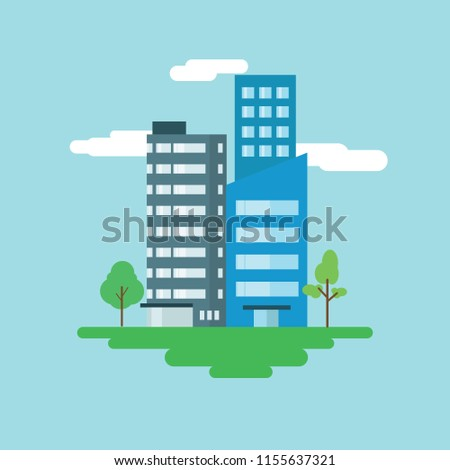 Office Building Vector Flat Design Stock Vector Royalty Free