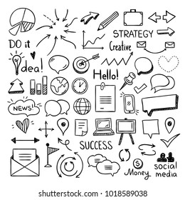 Office and business doodle icons for web design. Cute outline drawings for graphic design