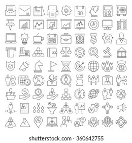 office and business icons set, consulting business icons, thine line theme