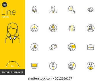 Office and Business line icons collection, editable strokes. For mobile concepts and web apps. Vector illustration, clean flat design.